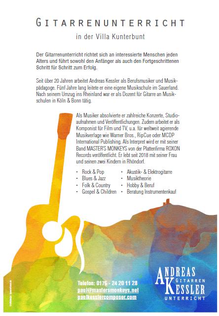 Gitarrenunterricht in der Villa Kunterbunt @ Villa Kunterbunt, Cafe
